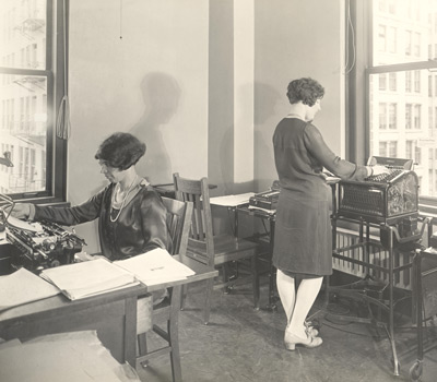CalTax staff work on the association's newsletter, circa 1926.